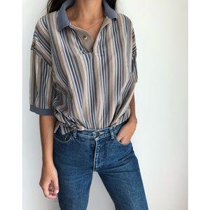 Vintage Levi's Dockers striped polo shirt M